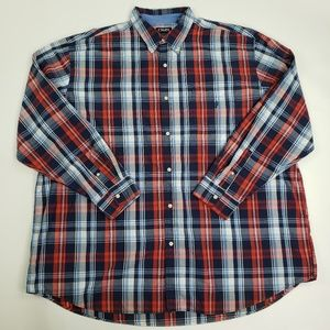 Chaps Easy Care Button Front Red Blue White Plaid
